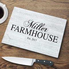 Modern Personalized Family Farmhouse Glass Cutting Board at AGiftPersonalized