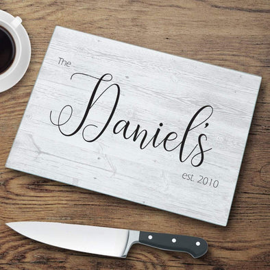 Last Name Personalized Modern Farmhouse Glass Cutting Board -  - JDS
