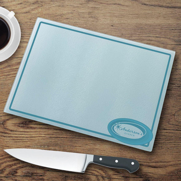 Personalized Glass Cutting Board - Retro - JDS