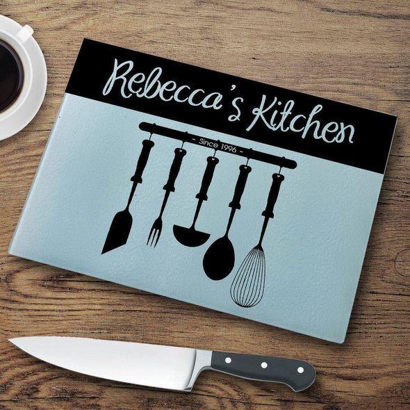 Personalized Glass Cutting Board - Utensils - JDS