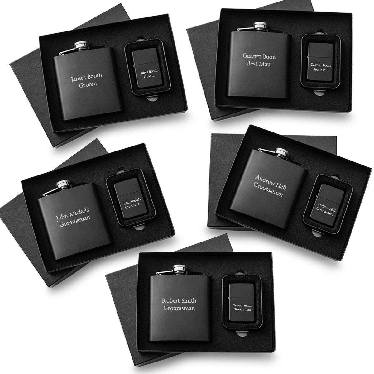 Personalized Matte Black Flask and Lighter Gift Box - Set of 5 Lighter and Flask Sets