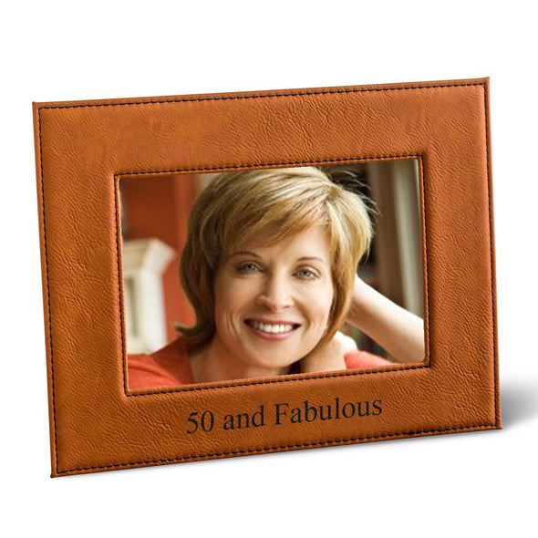Personalized 5x7 Vegan Leather Picture Frame - Rawhide - A Gift Personalized