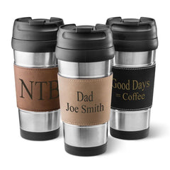 Personalized Faux Leather Wrapped Stainless Steel Tumbler - All
