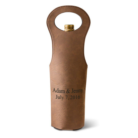 Personalized Dark Brown Leatherette Wine Tote - Wine Gifts & Accessories