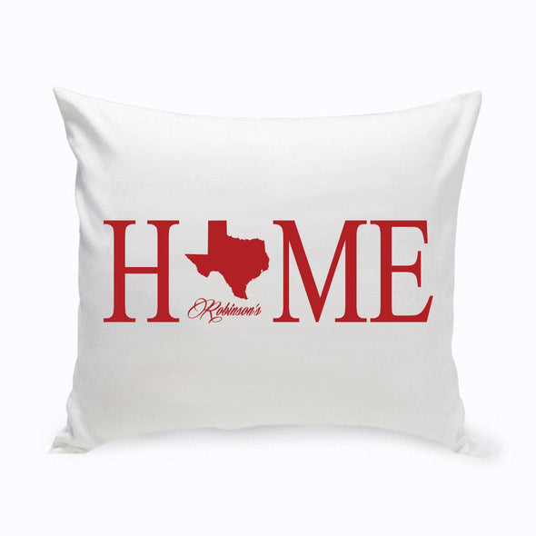 Personalized Home State Throw Pillow - Red - JDS