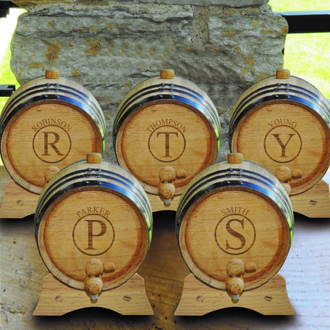 Personalized White Oak Whiskey or Bourbon Barrel - Set of 5 - Circle - Personalized Barware - AGiftPersonalized