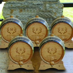 Personalized White Oak Whiskey or Bourbon Barrel - Set of 5 - Antler - Personalized Barware - AGiftPersonalized