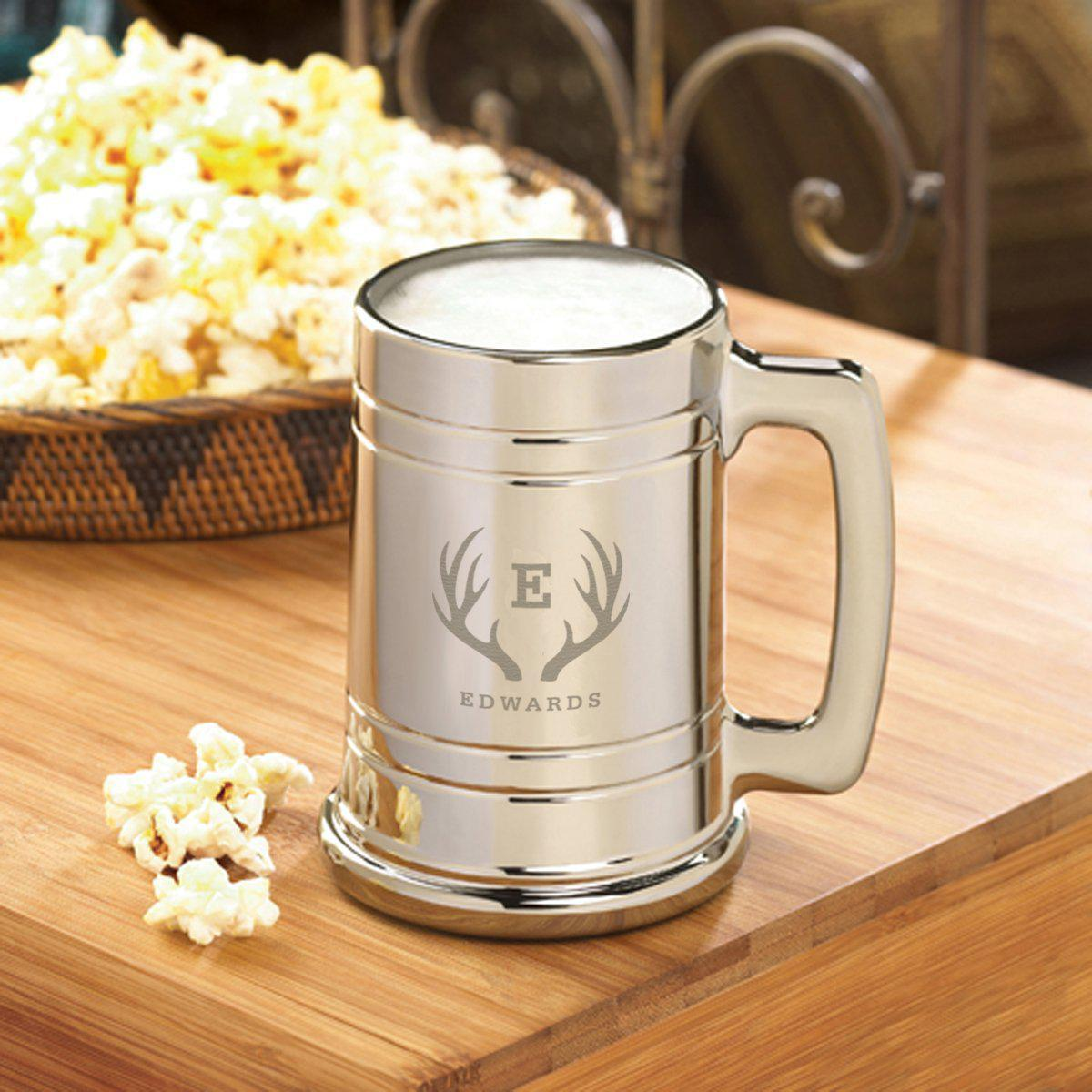 Personalized Gunmetal Beer Mugs - 16 oz. - 6 Designs