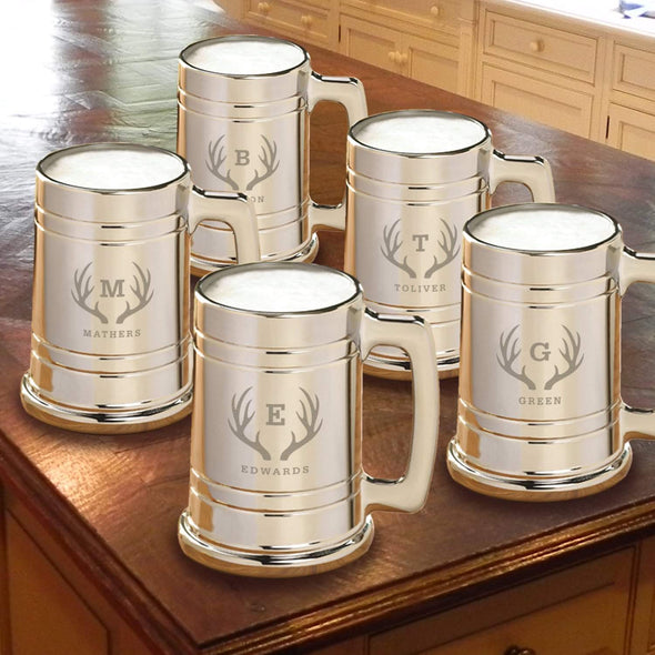 Personalized Gunmetal Beer Mug Set of 5 - Antler - JDS