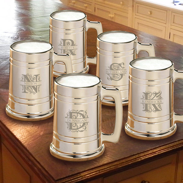 Personalized Gunmetal Beer Mug Set of 5 - Filigree - JDS