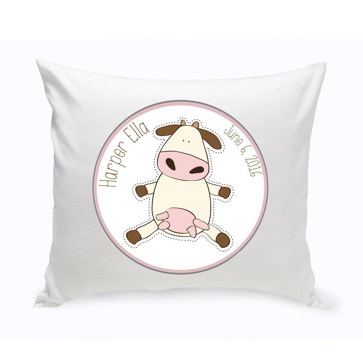 Personalized Baby Nursery Throw Pillow - Fun Cow