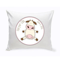 Personalized Baby Nursery Throw Pillow - Fun Cow -  - Home Decor - AGiftPersonalized