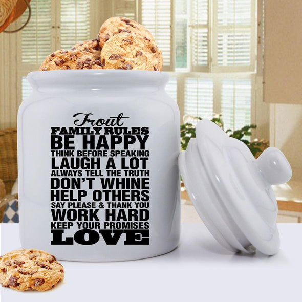 Personalized Antique Style Family Rules Cookie Jar - Black - JDS