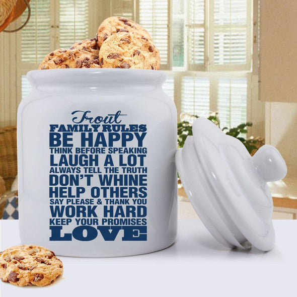 Personalized Antique Style Family Rules Cookie Jar - Blue - JDS