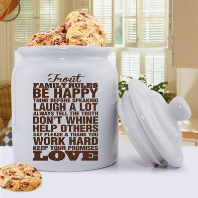 Personalized Antique Style Family Rules Cookie Jar - Brown - JDS