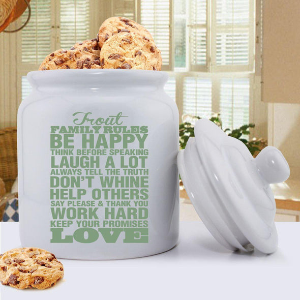Personalized Antique Style Family Rules Cookie Jar - Green - JDS