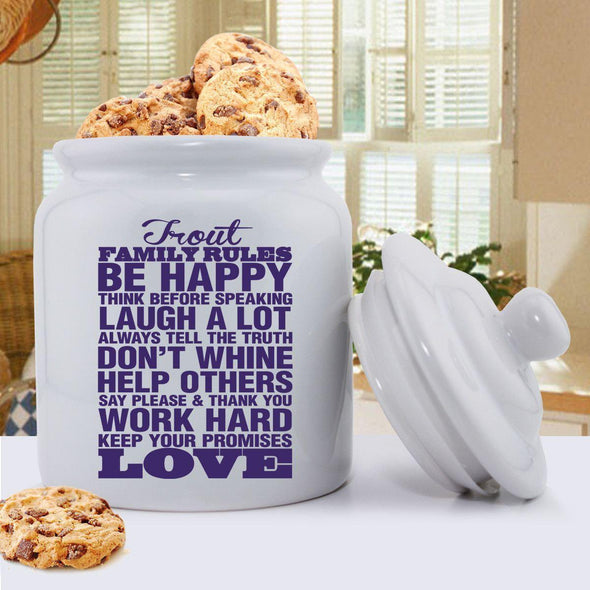 Personalized Antique Style Family Rules Cookie Jar - Purple - JDS