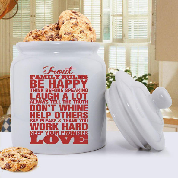 Personalized Antique Style Family Rules Cookie Jar - Red - JDS