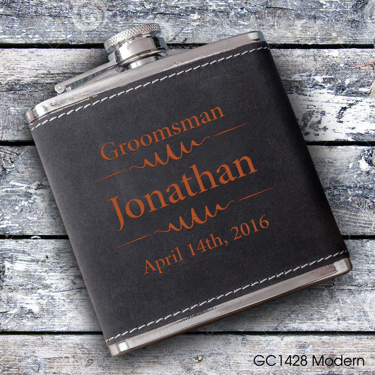 Personalized Groomsmen Black Suede Flasks