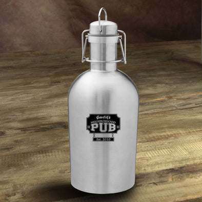 Personalized Stainless Steel Beer Growler - NeighborhoodPub - JDS
