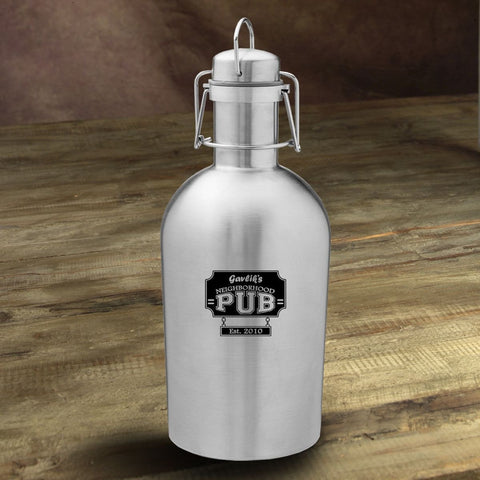 Personalized Stainless Steel Beer Growler - NeighborhoodPub - Personalized Barware - AGiftPersonalized