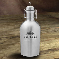 Personalized Stainless Steel Beer Growler - 3Beers - Personalized Barware - AGiftPersonalized