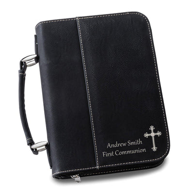 Personalized Leather Bible Cover - Multiple Colors - Black - JDS