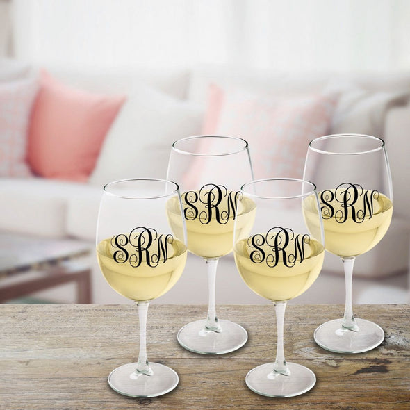 Personalized Monogrammed White Wine Glass Set - Black - JDS