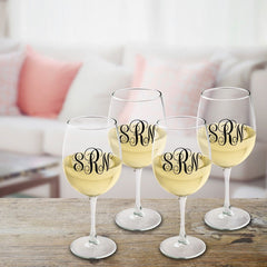 Personalized Monogrammed White Wine Glass Set - Black - Wine Gifts & Accessories - AGiftPersonalized