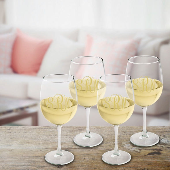 Personalized Monogrammed White Wine Glass Set - Gold - JDS