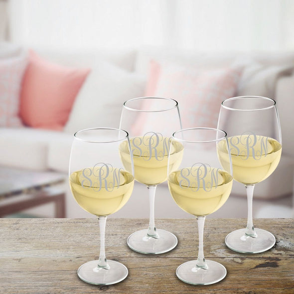 Personalized Monogrammed White Wine Glass Set - Silver - JDS