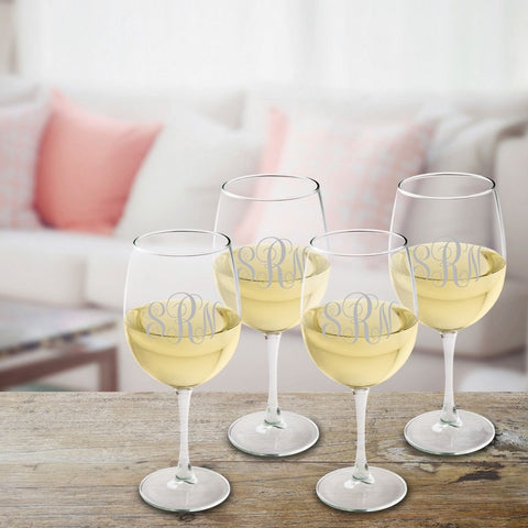 Personalized Monogrammed White Wine Glass Set - Silver - Wine Gifts & Accessories - AGiftPersonalized
