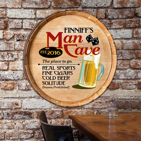 Personalized Man Cave Barrel Top Sign - -  - Home Decor - AGiftPersonalized