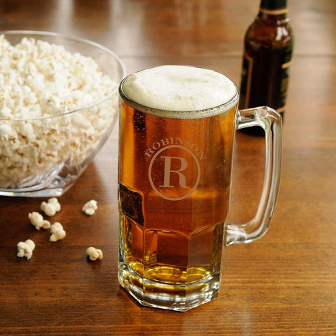 Personalized Beer Mugs - Beer Glasses - Monster Mug - Executive Gifts - Circle - Glassware - AGiftPersonalized