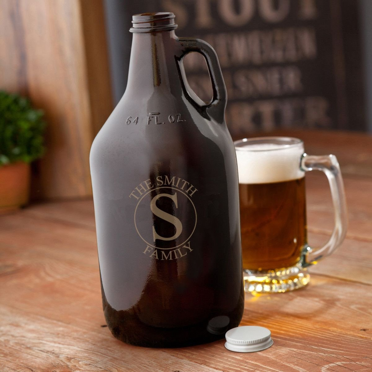 Personalized Growler - Beer - Monogram - Amber Glass - 64 oz.