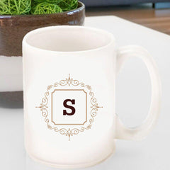 Personalized Coffee Mug- Initial Motif - Blue