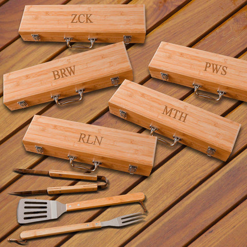 Personalized Grilling BBQ Set - Set of 5 - Bamboo Case - 3Initials