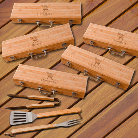 Personalized Grilling BBQ Set - Set of 5 - Bamboo Case - Steak