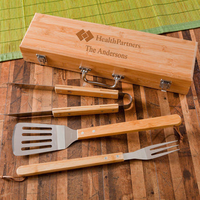 Personalized Grill Set - BBQ Set - Bamboo Case - Corporate Gift -  - JDS