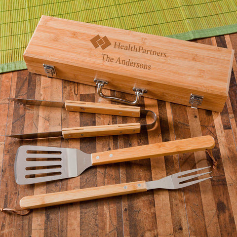 Personalized Grill Set - BBQ Set - Bamboo Case - Corporate Gift -