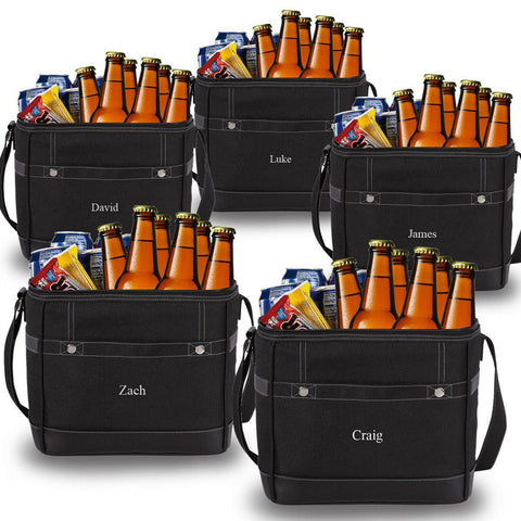 Personalized Trail Coolers - Set of 5 - Insulated - Groomsmen - Holds 12 Pack - Black
