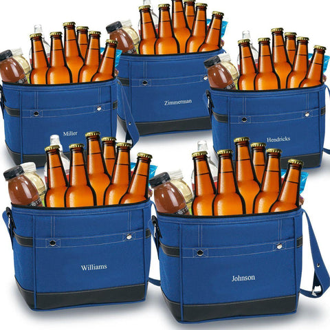 Personalized Trail Coolers - Set of 5 - Insulated - Groomsmen - Holds 12 Pack - Blue