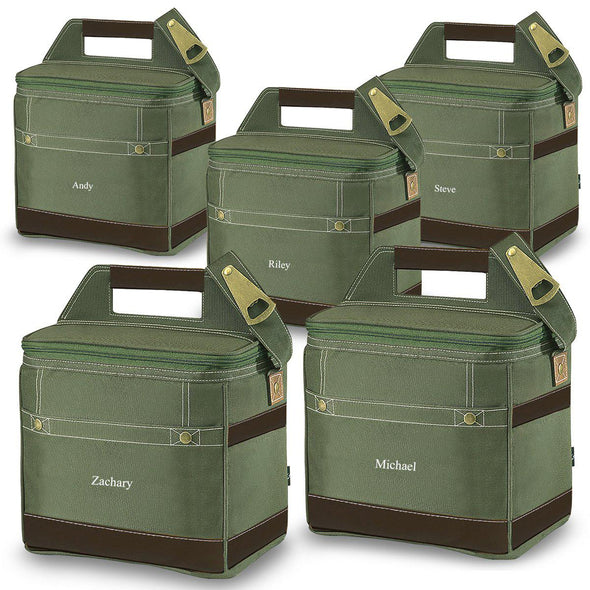 Groomsmen Gift Set of 5 Personalized Insulated 12-Pack Coolers - Khaki - JDS