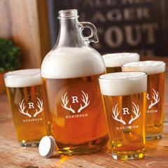 Personalized Growler - 4 Pint Glasses - Growler Set - 64 oz. - Antler - Personalized Barware - AGiftPersonalized