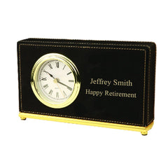 Personalized Rectangular Desk Clock - Black - Desk and Office - AGiftPersonalized
