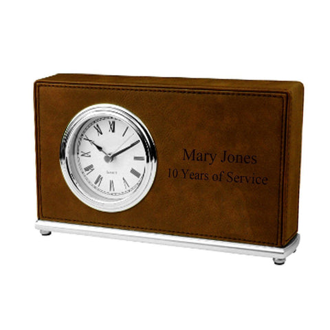 Personalized Rectangular Desk Clock - DarkBrown - Desk and Office - AGiftPersonalized