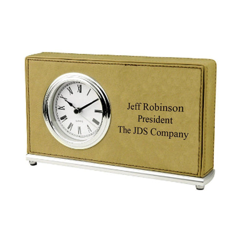 Personalized Rectangular Desk Clock - LightBrown - Desk and Office - AGiftPersonalized