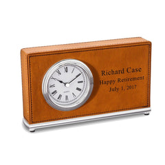 Personalized Rectangular Desk Clock - TanRawhide - Desk and Office - AGiftPersonalized
