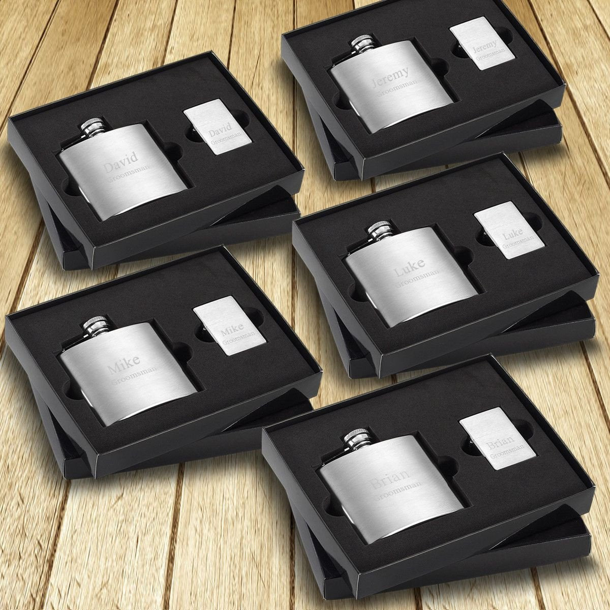 Personalized 4 oz. Brushed Flask and Lighter Gift Box - Set of 5 Boxes