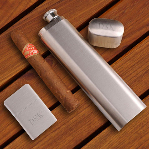 Personalized Flask and Cigar Case - Lighter - Brushed Silver - Gift Set at AGiftPersonalized
